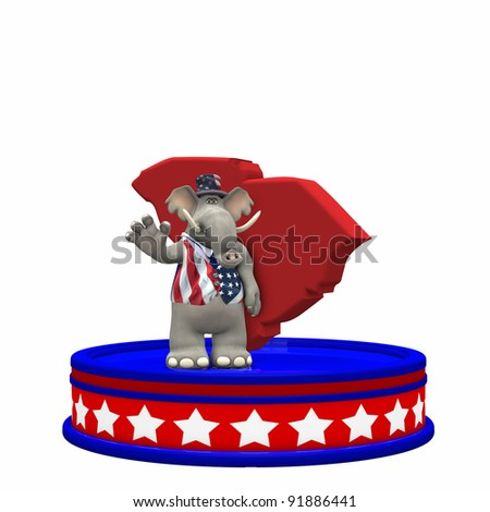 Republican Platform - South Carolina GOP Political Elephant standing on a red, white, and blue platform in front of a 3D South Carolina. Isolated on a white background. - stock photo