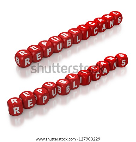 Republican political party represented with red dice on white background - stock photo