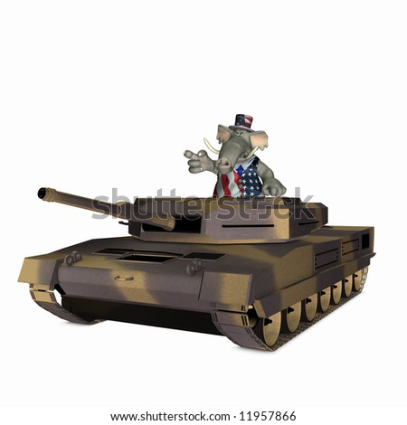 Republican represented by an elephant riding in a military tank. Political humor. - stock photo