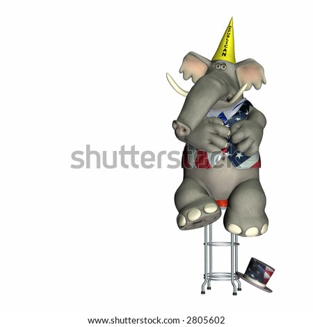Republican, represented by an elephant, sitting on a stool wearing a dunce cap. Political humor. - stock photo