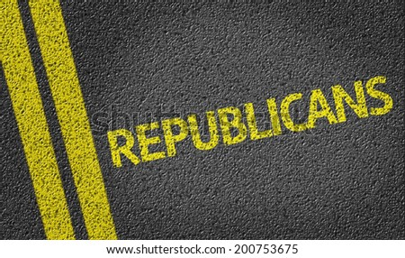 Republicans written on the road - stock photo
