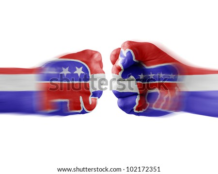Republicans  x  Democrats - stock photo