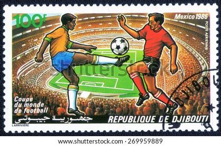 Republique De Djibouti - CIRCA 1986: stamp printed by Republique De Djibouti,  shows the World Cup in Mexico in 1986, circa 1986.  - stock photo