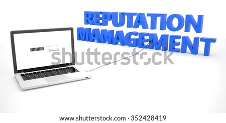 Reputation Management - laptop notebook computer connected to a word on white background. 3d render illustration. - stock photo