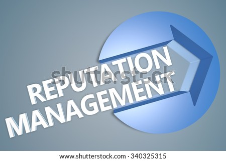 Reputation Management - text 3d render illustration concept with a arrow in a circle on blue-grey background