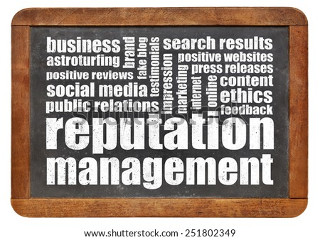 reputation management word cloud on a vintage blackboard - stock photo