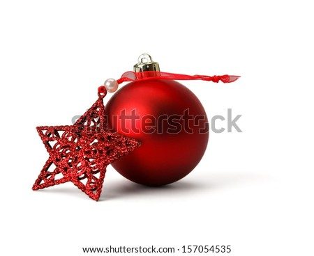 Res christmas ball and star, isolated on white background - stock photo