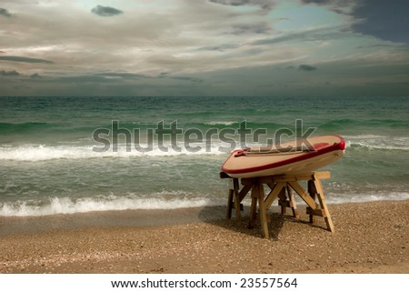 rescue boat on the beach, ready for use - stock photo