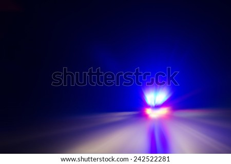 Rescue car lights on the street at night - stock photo