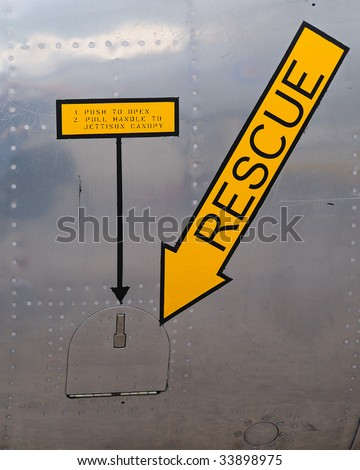 Rescue Graphic on Fighter Plane - stock photo