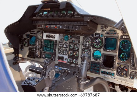 rescue helicopter cockpit - stock photo