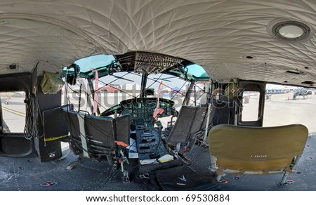 rescue helicopter cockpit wide angle - stock photo