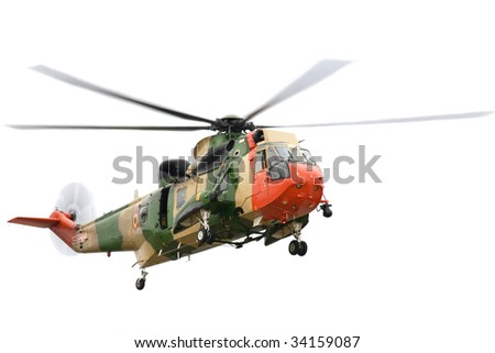 Rescue helicopter on isolated white background.