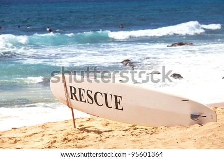 rescue post on Hawaii - stock photo