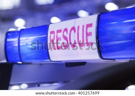 Rescue service blue beacons    - stock photo