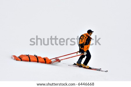 Rescue sled in the snow - stock photo
