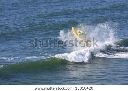 Rescue team boat in action - stock photo