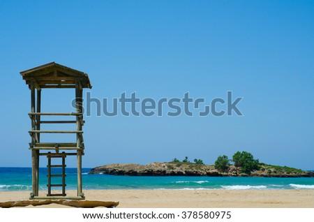 Rescue tower on the beach - Greece, Crete - stock photo