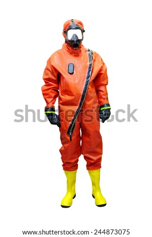 rescuer in a protective suit isolated under the white background - stock photo