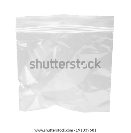 Resealable Plastic Bag, isolated on white with a clipping path.   - stock photo