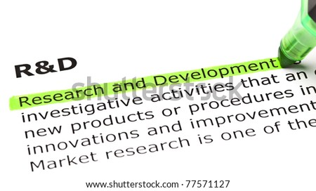Research and Development highlighted in green, under the heading R&D.