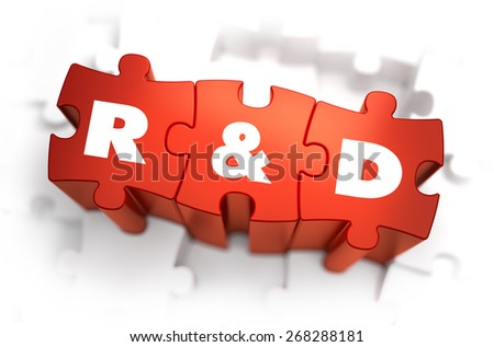 Research and Development - White Word on Red Puzzles on White Background. 3D Render.  - stock photo