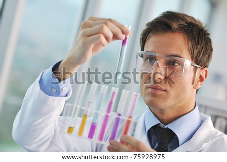 research and  science doctor student  people  in bright labaratory representing chemistry education and medicine concept - stock photo