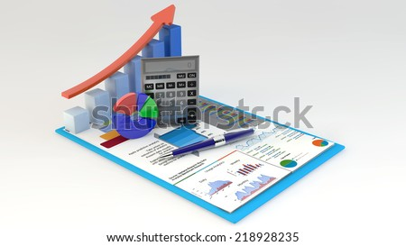 research concept: office calculator, bar graph and pie diagram and pen on financial reports in clipboard isolated on white background/Business Finance, Tax, Accounting, Statistics and Analytic - stock photo