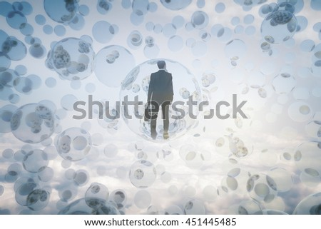 Research concept with businessman inside abstract bubbles in the sky - stock photo