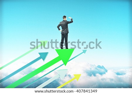 Research concept with businessman on green arrows and sky background - stock photo