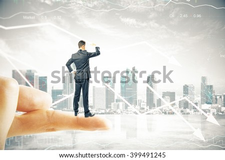 Research concept with businessman standing on finger tip, looking into the distance on digital city background with downward arrows. 3D Render - stock photo