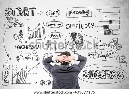 Research concept with stressed man looking at wall with business schemes - stock photo