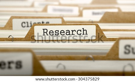 Research Concept. Word on Folder Register of Card Index. Selective Focus. - stock photo