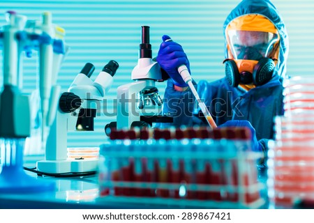 Research dangerous viruses in the laboratory - stock photo