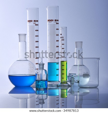 Research lab assorted glassware - stock photo