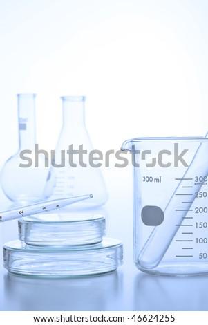 research laboratory glassware - stock photo