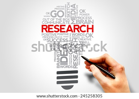 RESEARCH lightbulb words cloud, business concept - stock photo
