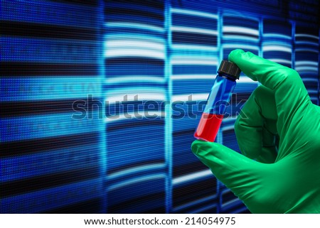 research of the sequence of the genetic code - stock photo
