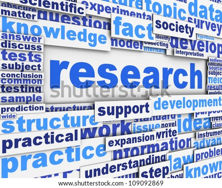 Research poster design. Scientific research message concept - stock photo