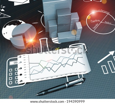 Research process in the background sketches of symbols - stock photo