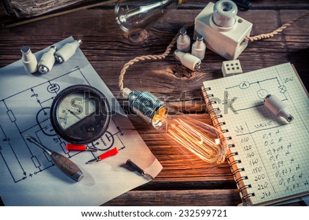 Research related to electricity - stock photo