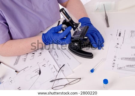 Research science laboratory woman in a science or medical lab - stock photo