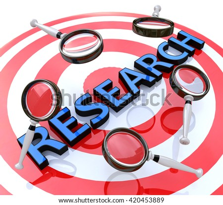 Research target concept related information searching various information. 3d illustration - stock photo