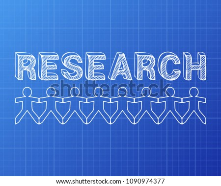 Research text hand drawn paper people stock illustration 1090974377 research text hand drawn with paper people on blueprint background malvernweather Image collections