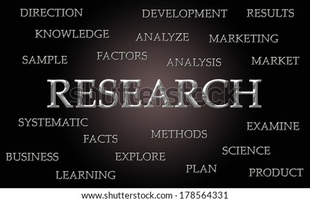 Research word cloud written in luxurious chrome letters - stock photo