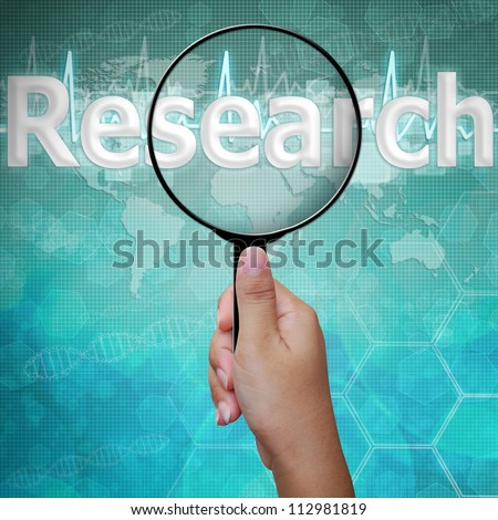 Research, word in Magnifying glass , background medical