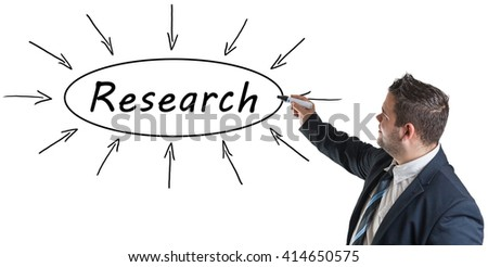 Research - young businessman drawing information concept on whiteboard.
