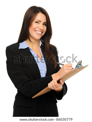 Researcher in formal business attire writes information on clipboard, isolated on white - stock photo