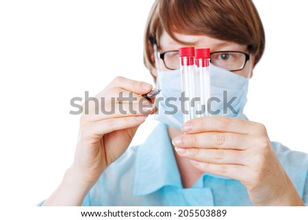 researcher in the laboratory isolatated - stock photo