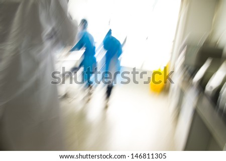 researcher works in chemistry laboratory. motion blur  - stock photo